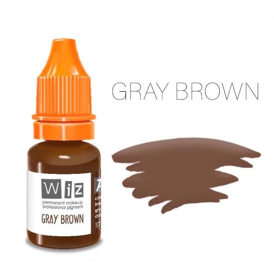 Пигмент WizArt Strong Gray Brown 10 мл. для татуажа и перманентного макияжа